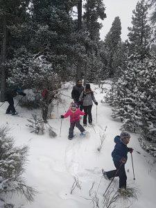 Découverte de la raquette à neige en famille dans la forêt d'EYNE. Pyrénées-Orientales.